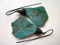 Make It Rain - primitive natural aqua teal green chrysocolla raw nugget slab stones and dark black oxidized steel wire wrapped earrings by LoveRoot
