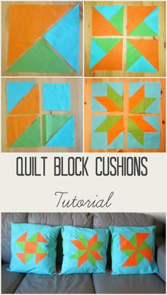 Quilt blocks are not just for quilts! Here is a tutorial for making quilt block cushions. Each cushion features a different quilt block and has an envelope back. There are free templates too! Tea and a Sewing Machine www.awilson.co.uk