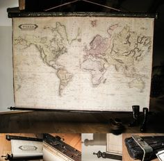 Magnificent large world map 1800 huge wall decor pull down map magnificent huge map world 1800 111 x 74 280 x190cm canvas antique wood executive gift gothic industrial cottage chalet decor gumiabroncs Images