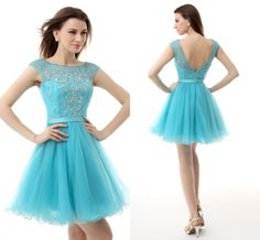 2015 Cap Sleeve Sheer Neck Sexy Backless Short Party Dresses With Crystal Beaded Light Sky Blue Custom Prom/Cocktail/Homecoming Gowns HC from Engerlaa,$82.78 | DHgate.com