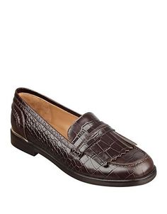Marc Fisher Ltd Roryer Leather Fringe-Accented Loafers Women's Brown 1