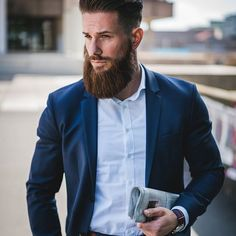 """""""The Bearded Business Style"""" This is actually one of my typical looks at work. I personally avoid to wear ties as much as possible since I dont really like them. #gentlemanstyle #beardsaresexy #stylishbeards Thanks to @diddiphotography"""