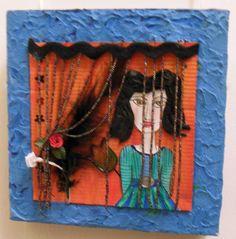 Collage, Struckturpaste, Bild, Gemälde, malen, selbstgemacht, Schmucksteine, Pailletten, kleben, geklebt