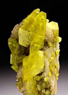 Sulphur with Aragonite from Italy