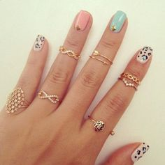 Nail Art  Leopard Nails, Pastel and rings