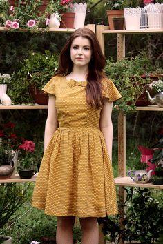 Marigold Dress in Mustard Polka Dot Spring by alicenightingale, $120.00
