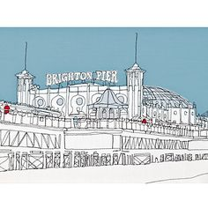 Buy Stretched Canvas Gillian Bates - Brighton Pier from our Pictures range at John Lewis & Partners. Canvas Frame, Canvas Art, Canvas Prints, Canvas Ideas, Brighton Rock, Contemporary Frames, White Wall Art, Textiles, Handmade Frames