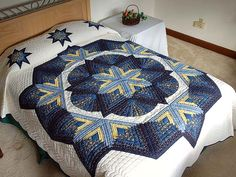 Broken Star with Fans Quilt -- gorgeous cleverly made Amish Quilts from Lancaster (hs1674)