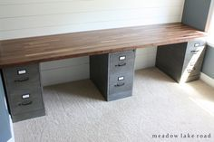 custom desk with painted metal file cabinets and butcher block desk top   www.meadowlakeroad.com