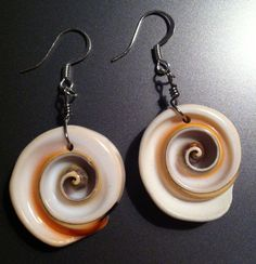 Seashell Spiral  wire wrap shell earrings by YummeDesigns on Etsy, $7.50