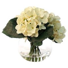 Faux Cream Hydrangea in Glass Vase