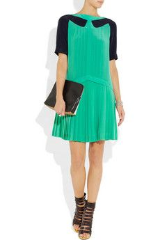 VICTORIA, VICTORIA BECKHAM  Pleated silk-crepe mini dress  $1,155