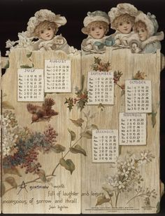 Alenquerensis: Calendários victorianos da firma Raphael Tuck & Sons - Victorian calendars from Raphael Tuck & Sons