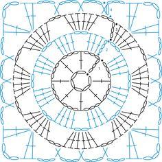 Crochet Motif Patterns, Crochet Symbols, Crochet Blocks, Granny Square Crochet Pattern, Crochet Mandala, Crochet Diagram, Crochet Chart, Crochet Squares, Crochet Granny