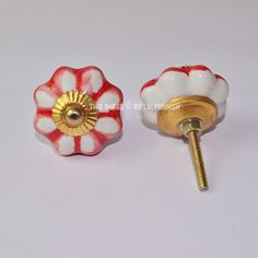 Antique Brass Finish Hand Painted Floral Ceramic Door Knobs, Set of 2 on RoyalFurnish.com, $3.97