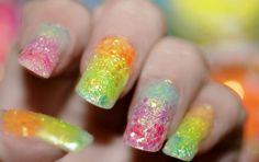 Rainbow glitter fingernails!  #manicure #fingernails @Elizabeth Sisk