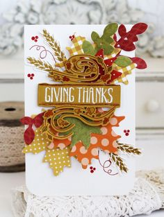 Giving Thanks Card by Melissa Phillips for Papertrey Ink (August 2016)