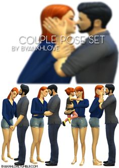 [ByanxhLove] Couple Pose Set• 4 sets in game • 8 poses (7 adults and 1 toddler) • requires Andrew's Pose Player and Teleport Any Sims • If use this poses please tag me as byanxhlove! • Enjoy