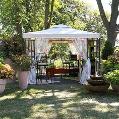 Pavilion - transform a backyard into a romantic hideaway or entertainment area. Once erected, the pavillion can be left in place, removing only the fabric when the season comes to a close. From BH&G