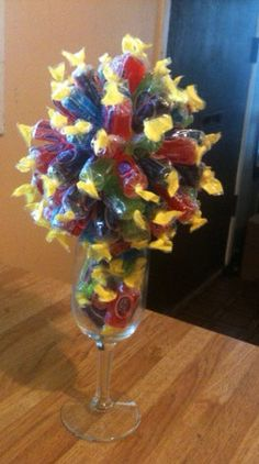 Candy Bouquet Made with Jolly Ranchers in Wine Glass (6.25oz) Ready to Ship  on Etsy, $18.00