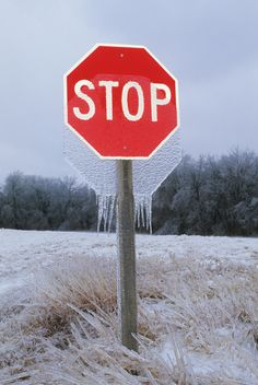 An octogon of frozen precipitation hangs momentarily from a stop sign before falling to the ground following a major ice storm in eastern Kansas on January 31, 2002.