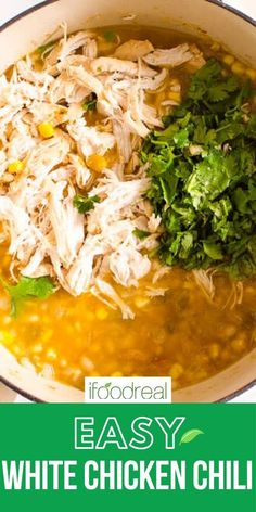 Healthy White Chicken Chili is a 30 minute meal with chicken breast, white beans, corn, cumin and yogurt. This healthy comfort food is easy to make on the stove, crockpot or Instant Pot. A true crowd pleaser! Healthy One Pot Meals, Healthy Chili, Healthy Comfort Food, Healthy Chicken, Healthy Dinner Recipes, Chicken Recipes, Healthy Eating, Delicious Crockpot Recipes, Crockpot White Chicken Chili