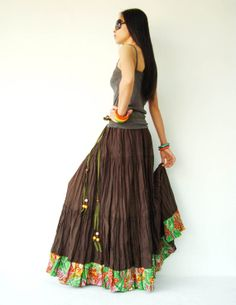 NO.25 Chocolet Brown Cotton Hippie Gypsy Boho by JoozieCotton, $44.00