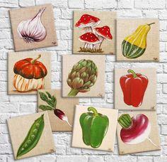 Tableau sur lin illustration botanique de légume décoration mural de cuisine Decoration Shabby, Illustration Botanique, Different Vegetables, Unique Words, Etsy Crafts, Special Gifts, Street Art, Original Paintings, Creations