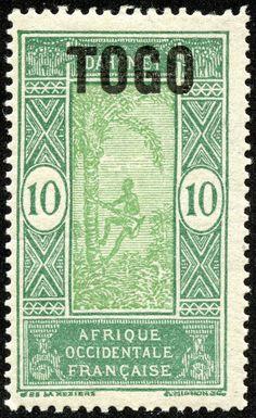 Togo  1921 Scott 197 10c blue green & yellow green Type of Dahomey, 1913-39, Overprinted French Mandate