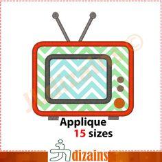 TV applique design. Machine embroidery design - INSTANT DOWNLOAD - 15 sizes. Television applique design. by JLdizains on Etsy