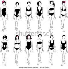 Find Set Hand Drawn Style Elegant Glamour stock images in HD and millions of other royalty-free stock photos, illustrations and vectors in the Shutterstock collection. Illustration Mode, Fashion Illustration Sketches, Fashion Sketches, Swimwear Fashion, Bikini Fashion, Glamour Bikinis, Croquis Fashion, Mode Du Bikini, Swimsuit Pattern