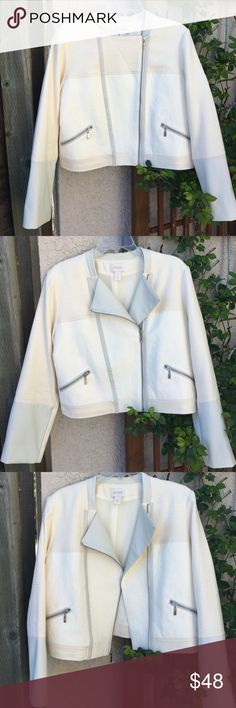 ✨NEW!✨ Amazing Chico's Moto Jacket EUC! This is a worn-once, perfect and awesome Chico's moto-style jacket! Chico's size 2. The detail and fabrics are amazing! 100% cotton shell, all in a gorgeous cream color with silvertone functional zippers and pockets. Faux leather treatment at collar, sleeves and along the front zipper. Moto-style zipper may be pulled up partially to create a lapel or zipped all the way up. (📸 pics!) Fully lined in polyester. Machine wash cold; may be dry-cleaned. So…