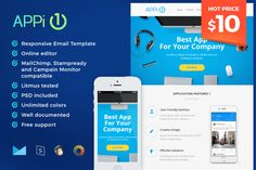 APPi1 - Responsive Email Template by Maesto on Creative Market #email #newsletter #template #marketing