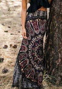 Black Floral Print Floor Length Vintage Boho Chic Casual Maxi Skirt