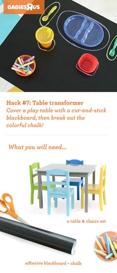 Rainy days can be so...blahh. Switch it up with this crafty, DIY hack! All you'll need is a play table, a blackboard and some chalk...plus, a little imagination. Activities such as drawing pictures and writing cute notes will keep kids entertained—rain or shine. And you'll love their artsy creations! Pro-tip: Use this as an opportunity to teach your children how to set the dinner table. #BRUhacks