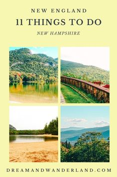 A New England road trip! Driving New Hampshire, not only during fall foliage season but also in Winter, Spring, and Summer! Visit the White Mountains, climb Mount Washington, find a family vacation place at Lake Winnipesaukee, make your own goat cheese or discover Uncle Sam´s House! Find 11 cool and fun things to do and places to visit while having a getaway in New Hampshire, USA! Usa Travel Guide, Travel Usa, Travel Guides, New England States, New England Travel, White Mountain National Forest, Mount Washington, Wanderland, White Mountains