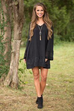 Spend a day at the orchard wearing this dress in a beautifully classic shade of black!
