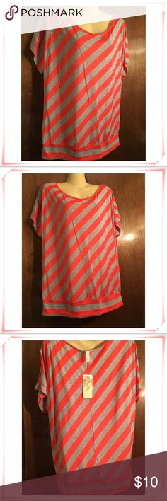 🆕WT MS. BELLA D TOP FIRM PRICE NO OFFERS✳️ ✳️NWT Ms. Bella D Short Sleeve Top colors are Coral & Grey w/slanted vertical stripes. Smoke free pet free hm. There is a little hole in tag from where the price tag is inserted nothing wrong just never wore it. I will provide measurements for serious buyers only just ask. PRICE IS FIRM NO OFFERS UNLESS YOUR BUNDLING. Ask any ?'s Thnx 4 stopping by Be Blessed✳️ Ms. Bella D Tops Blouses
