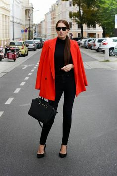 black always looks good puls red coat over make it all together epic outfit
