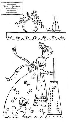 Women cleaning embroidery pattern