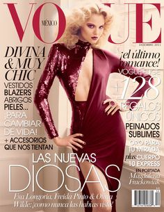 Magdalena Frackowiak closes out 2011 for Vogue Mexico. The Polish model was photographed by David Roemer for the December 2011 issue of Vogue Mexico.