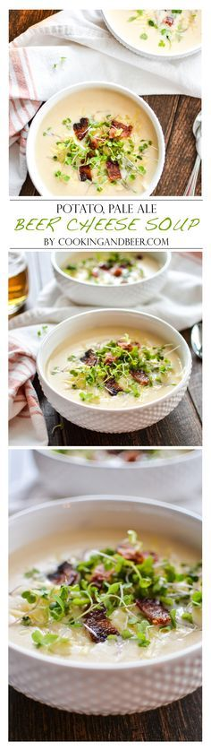 I love that this Potato, Pale Ale Soup is topped with a bit of bacon. Looks great! {Beer Cheese Soup} by Cooking and Beer