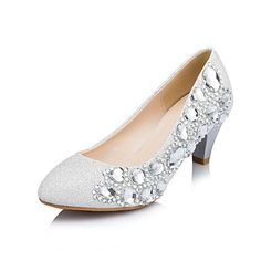 Women's Shoes Round Toe Chuncky Heel Paillette Pumps with Rhinestone Wedding Shoes  – USD $ 44.99