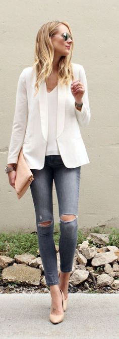 Blazer kombinieren: Geniale Styling-Tipps fü… Chic and yet casual in the office! Blazers combine: Ingenious styling tips for the Blazer Maxi Outfits, Casual Work Outfits, Fashion Outfits, Casual Pants, Winter Outfits, Fashion Clothes, Summer Outfits, Dress Winter, Casual Attire