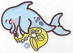 Dolphin with horn Applique | Applique Machine Embroidery Design or Pattern