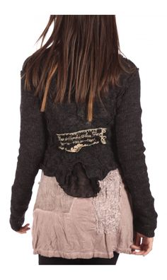 """I was thinking about the back """"patch"""" . . . could use a piece of fabric and bleach a pattern into it. Would dress up a plain, old cardigan"""