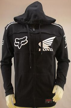 Fox Racing and Honda collaboration black hoodie with white logos