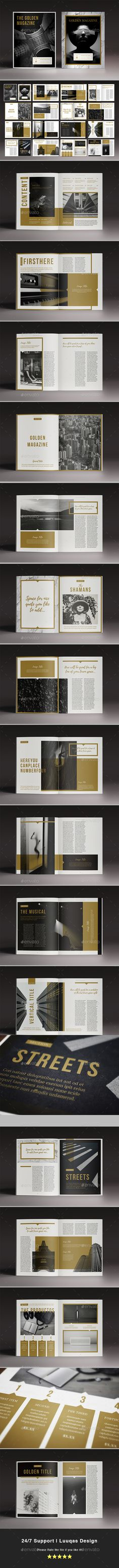 The Golden Magazine Template InDesign INDD - 32 Pages, Letter Size and A4 Size