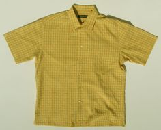 Bugatchi-Orange-Yellow-Windowpane-Button-Camp-Shirt-Modal-Rayon-Microfiber-Sz-XL