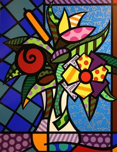 Find the latest shows, biography, and artworks for sale by Romero Britto. Celebrated for the vibrancy and optimism of his paintings, Romero Britto works in a… Pintura Graffiti, Graffiti Painting, Graffiti Art, Arte Pop, Britto Disney, Arte Elemental, Tableau Pop Art, Art Graphique, Elementary Art